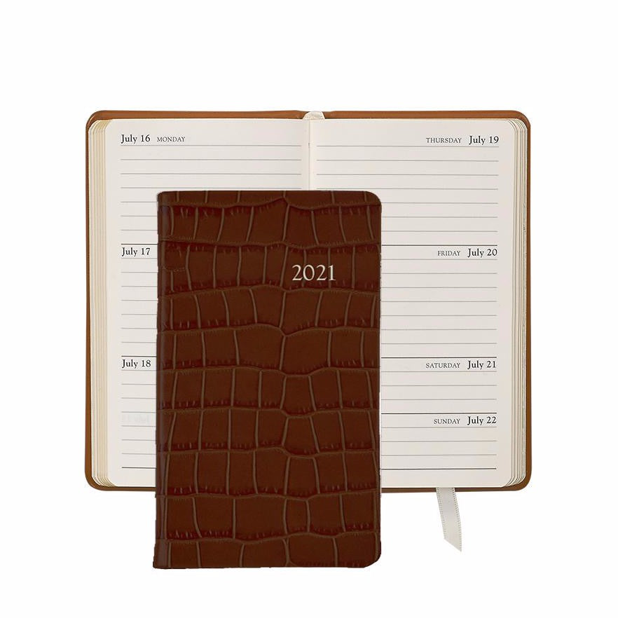 2021 Pocket Diary Brown Crocodile Embossed Leather