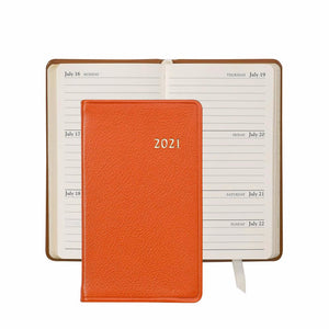 2021 Pocket Diary Orange Goatskin Leather