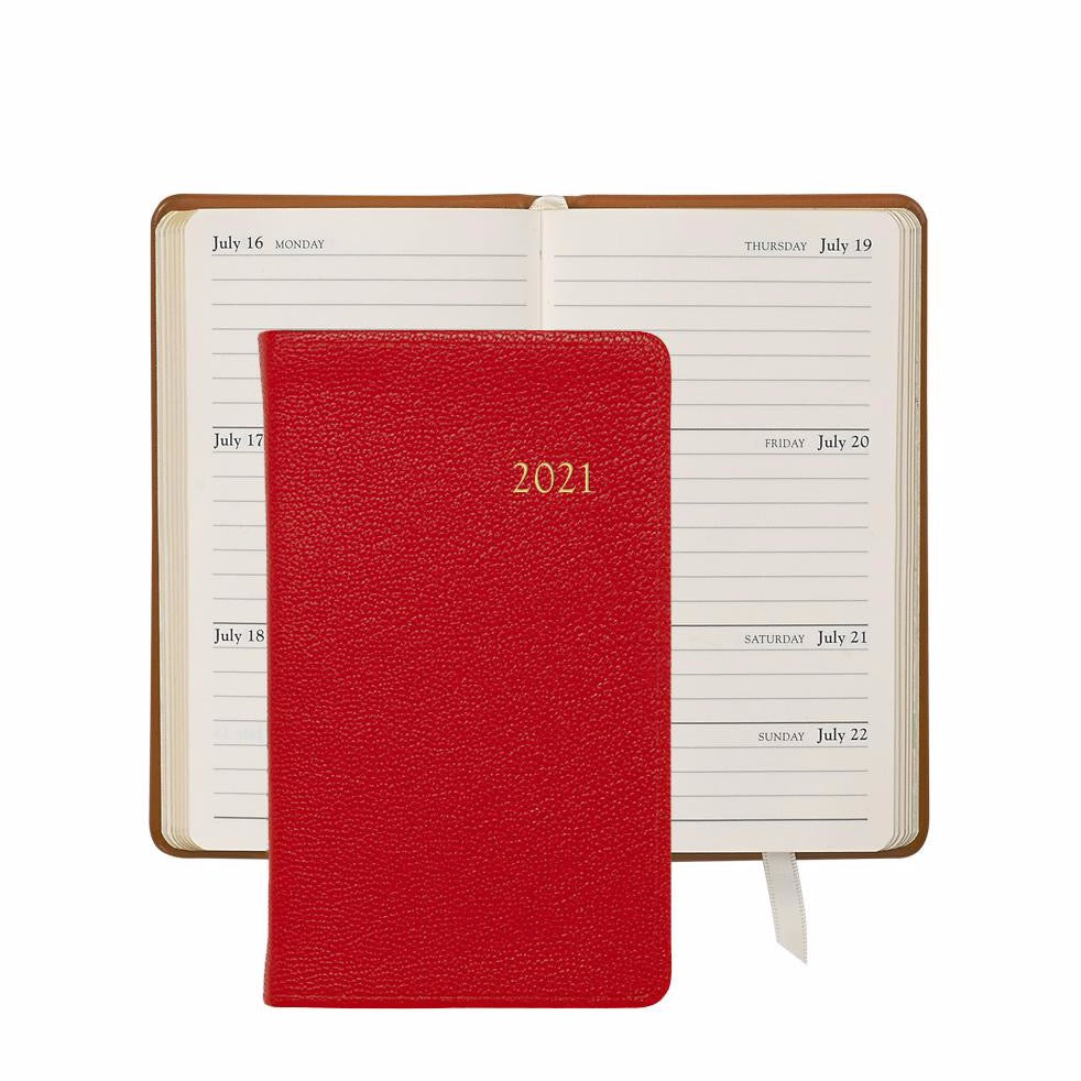 2021 Pocket Diary Red Goatskin Leather