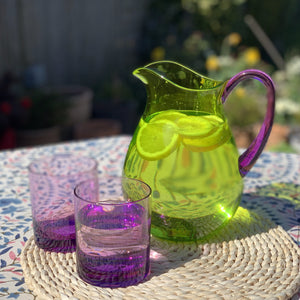 Acrylic Water Pitcher, Green with Purple Handle