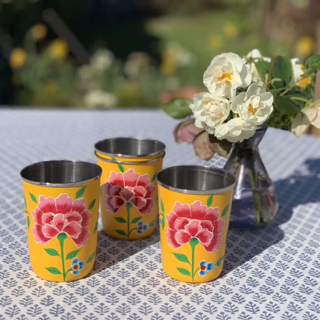 Yellow Hand Painted Enamel Tumbler