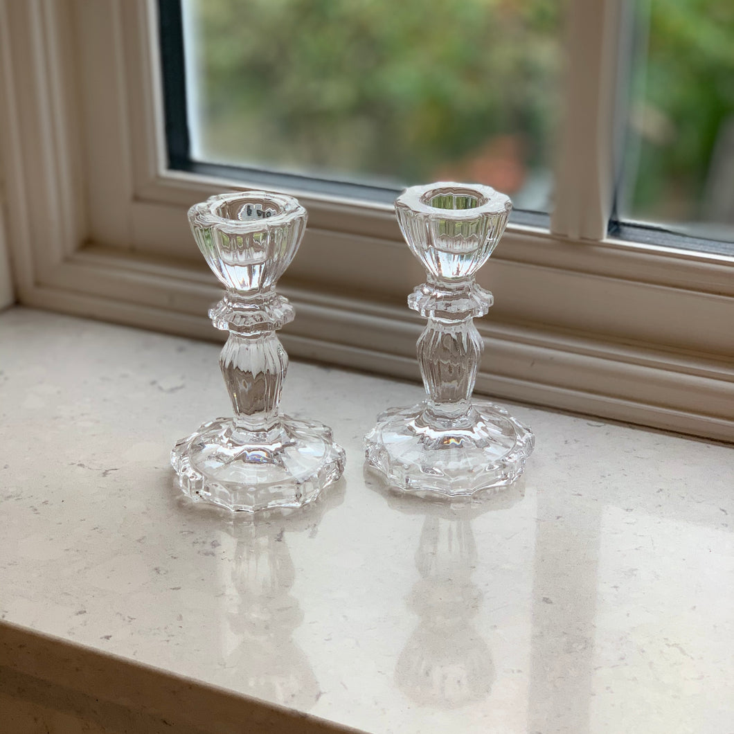 Luna Glass Candlestick - Clear