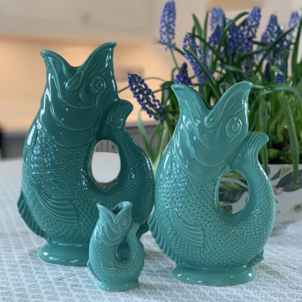 Large Glazed Gluggle Jug -  Sea Green