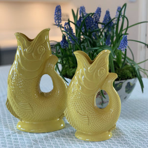 Large Glazed Gluggle Jug - Yellow