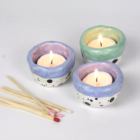 Dotty Tea Light Holder - Light Blue