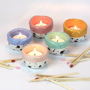 Dotty Tea Light Holder - Light Pink