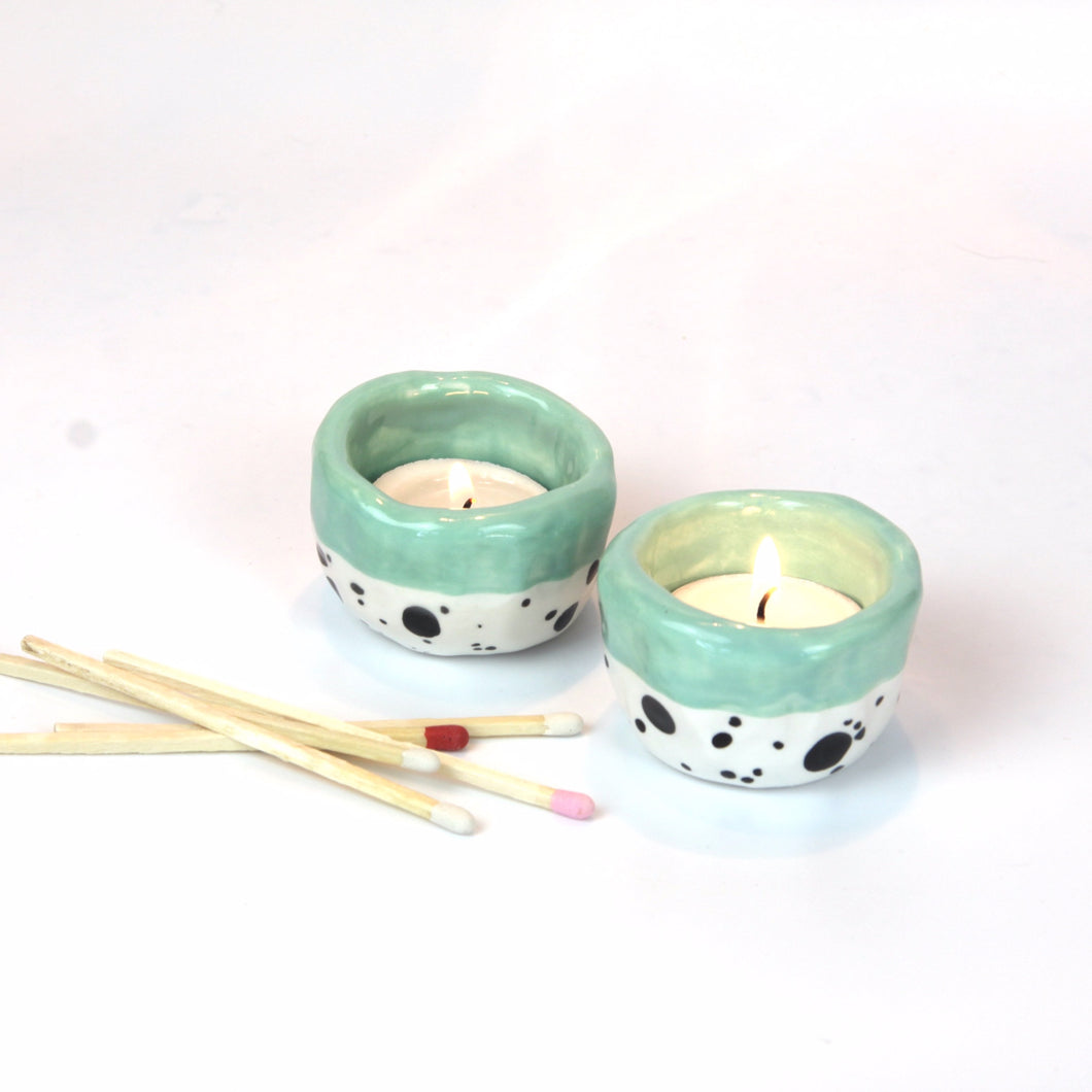 Dotty Tea Light Holder - Mint