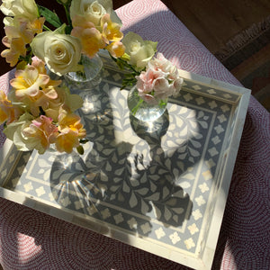 Inlay Decorative Rectangle Tray - Grey