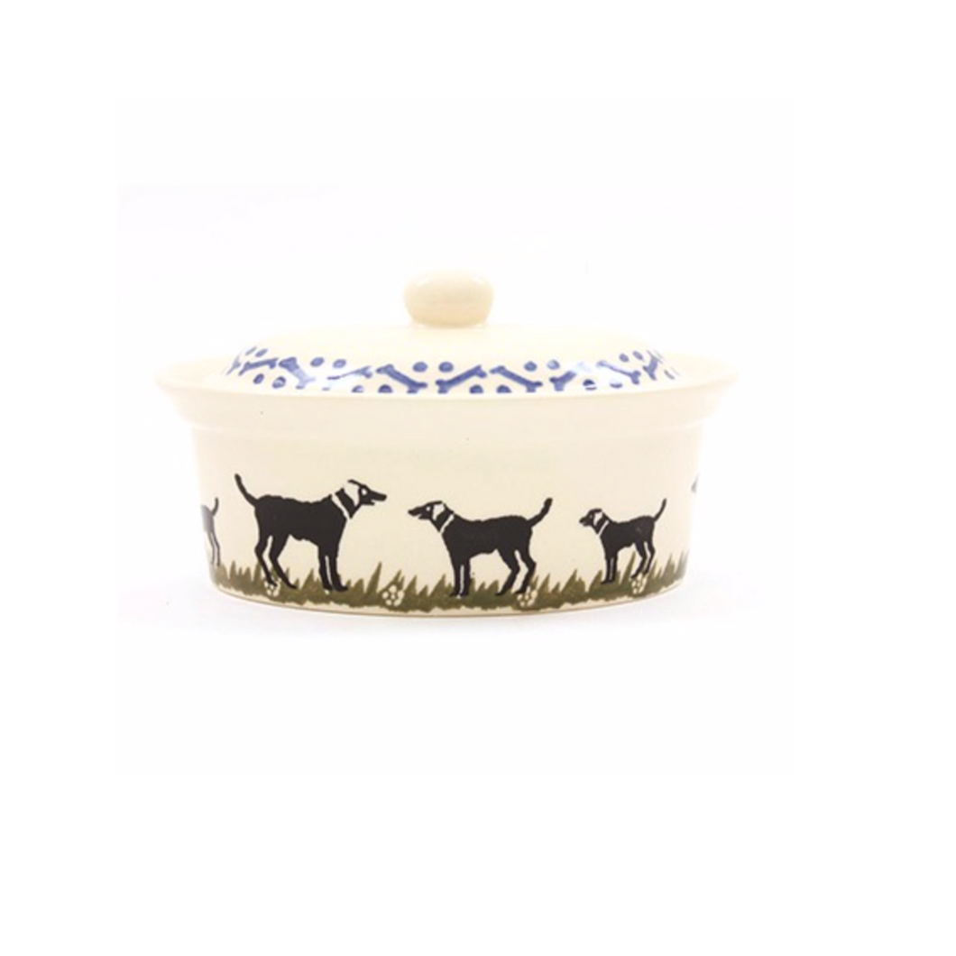 Black Labrador Butter Dish With Lid
