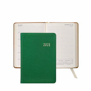 2021 Notebook Diary Emerald Green Goatskin Leather