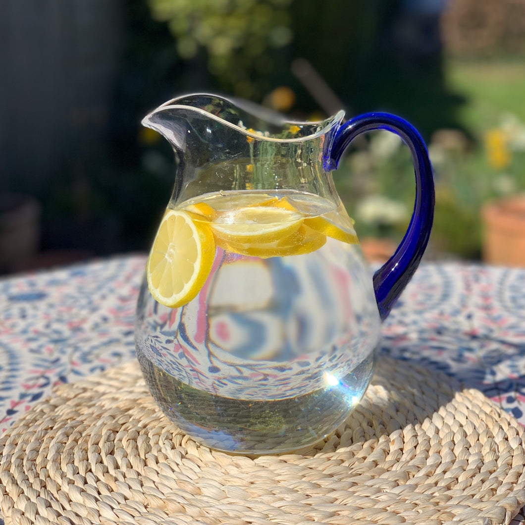 Acrylic Water Pitcher, Clear with Blue Handle