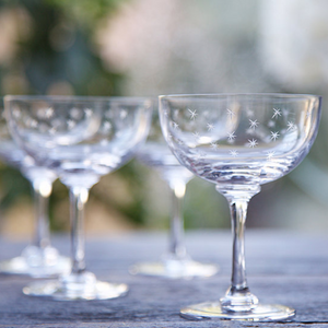 Champagne Saucers - Stars (Set of 6 Glasses)