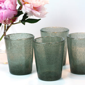 Ice Blue Glass Blown Tumblers, Set of Four