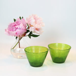 Green Handblown Glass Bowl