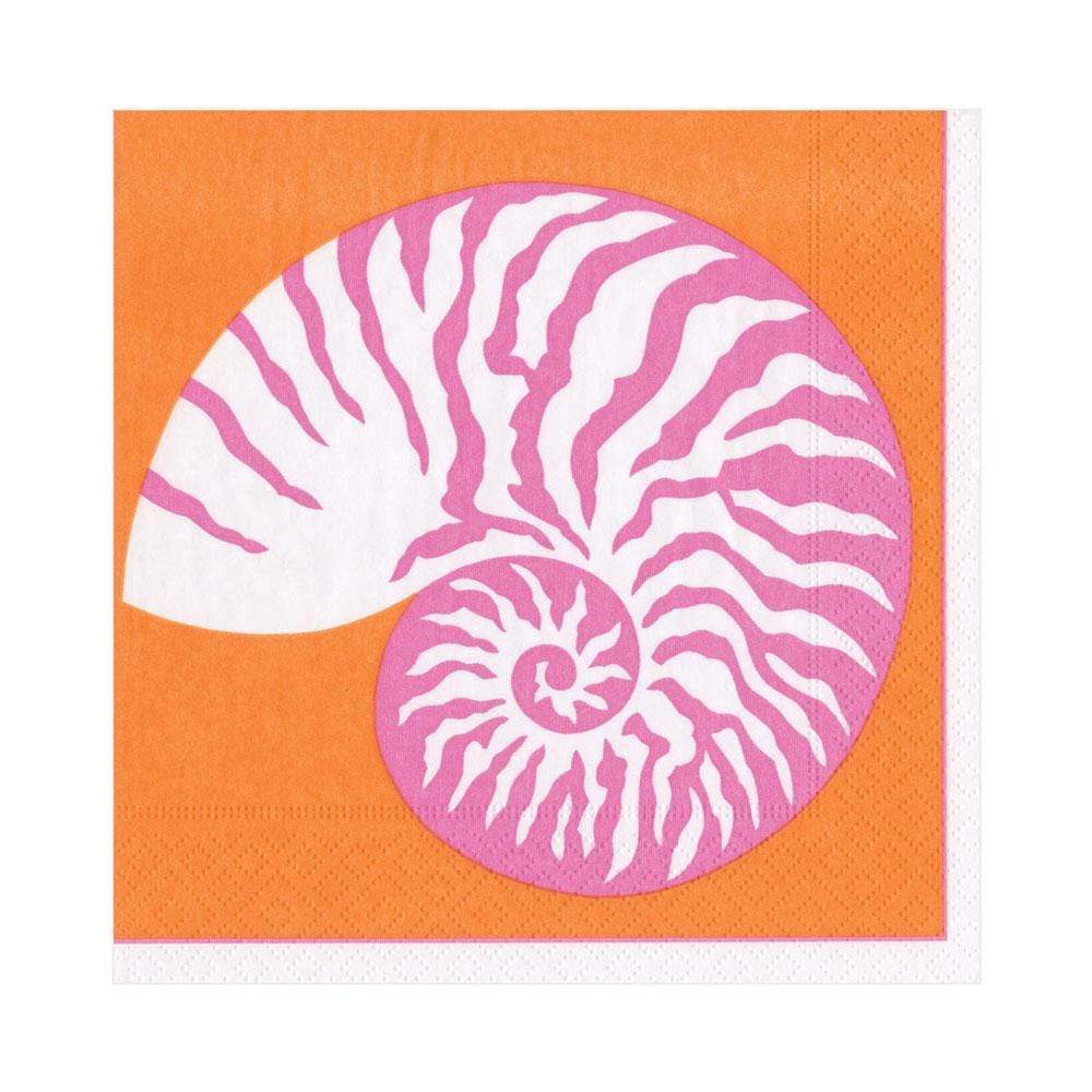 Nautilus Paper Napkins - Pink and Orange