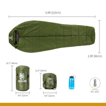 Load image into Gallery viewer, Extra Wide 3 Season Mummy Sleeping Bag
