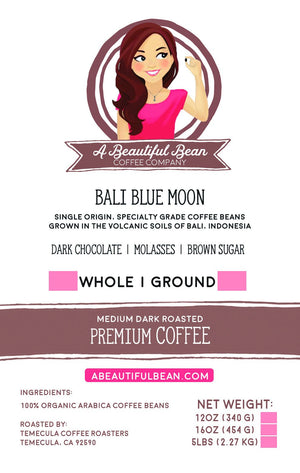 Indonesian coffee bean label for subscription coffee