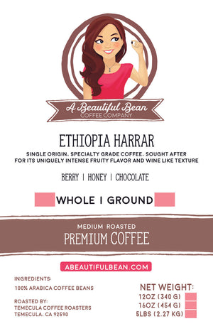 Ethiopian Harrar Coffee Beans, Natural Process Coffee, Subscription Coffee, Arabica Coffee