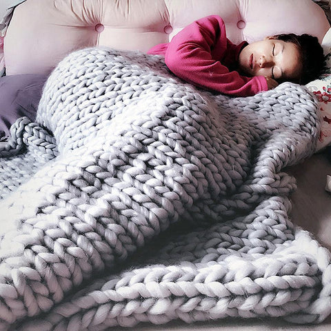 Image of Chunky Knit Throw Blanket - inspirexpress.com