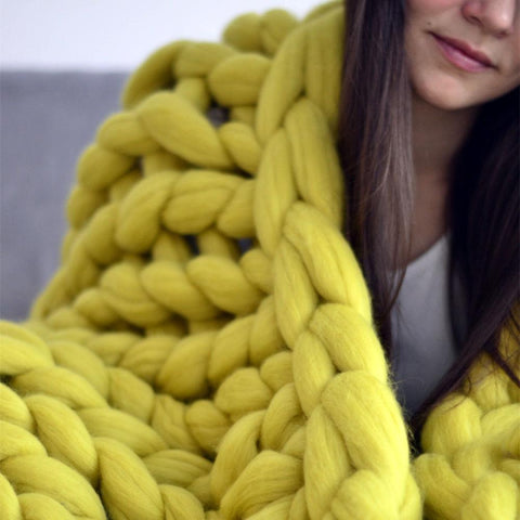 Image of Chunky Knit Throw Blanket Blanket InspirExpress 40x47 Inches Yellow