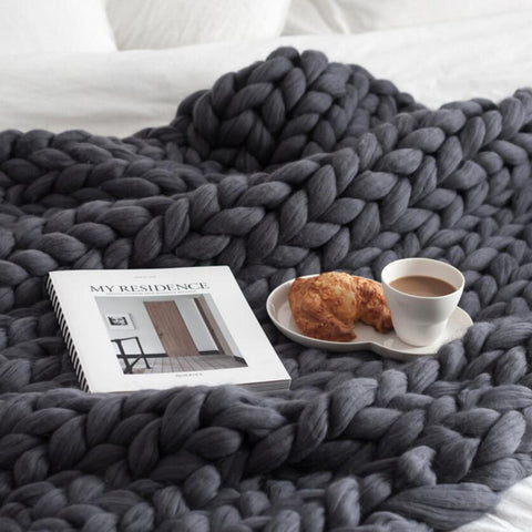 Image of Chunky Knit Throw Blanket Blanket InspirExpress