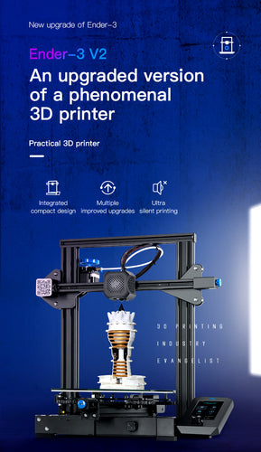 Creality Ender-3 V2 3D Printer with new user interface resume print and glass bed