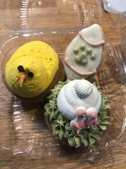 Chick and Bunny Butt cupcake, small egg cookie