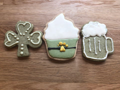 Clover, Lucky Cupcake, and Beer Stein Cookies