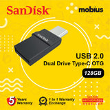 Sandisk 128GB DUAL DRIVE USB2.0 TYPE-C OTG Flash Drive