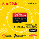 Sandisk 512GB Extreme PRO  Micro SD UHS-I Class 10 U3 A2 V30 Memory card