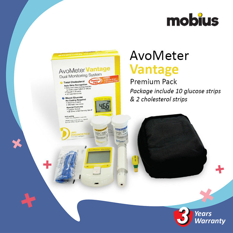 Avometer Vantage Dual Monitoring System For Total Cholesterol And Blood Glucose Premium Pack