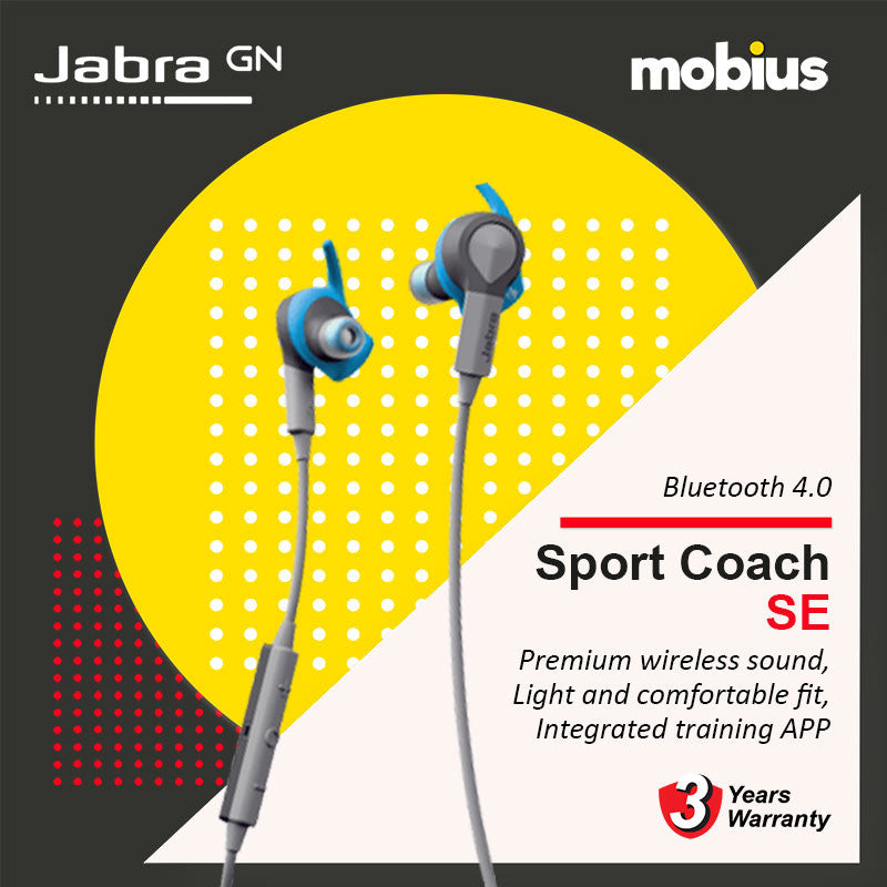 Jabra SPORT COACH SE Bluetooth Earbuds w/ Coaching (Blue)