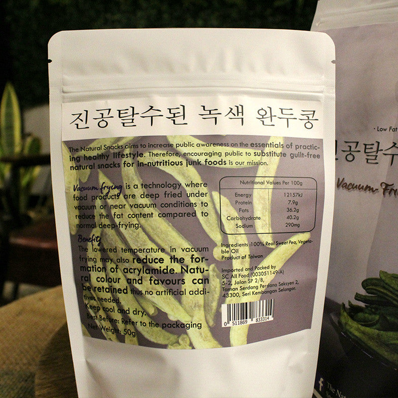 The Natural Snacks Vacuum-Fried Sweet Pea Healthy Snacks 50G/100G