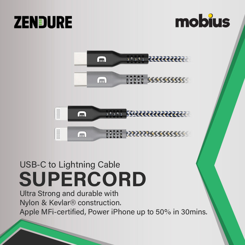 Zendure 100cm SuperCord Kevlar USB-C to Lightning Cable