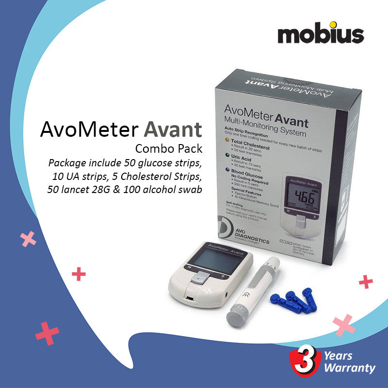 Avometer Avant Multi-Monitoring System For Cholesterol Uric Acid & Blood Glucose Combo Pack