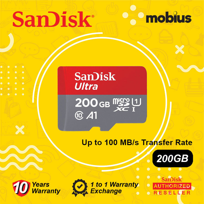 SanDisk 200GB Ultra Micro SD UHS-I Class 10 U1 A1 Memory Card