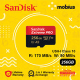 Sandisk 256GB Extreme PRO  Micro SD UHS-I Class 10 U3 A2 V30 Memory card