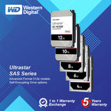 "WD 3.5"" 7200RPM Ultrastar SAS Series 4TB / 6TB / 8TB / 10TB / 12TB Enterprise HDD"