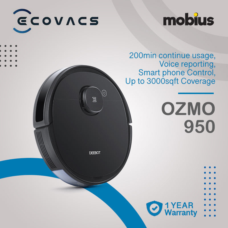 Ecovacs Deebot Ozmo 950 Robotic Vacuum Cleaner with Smart Navi 3.0/OZMO Mopping