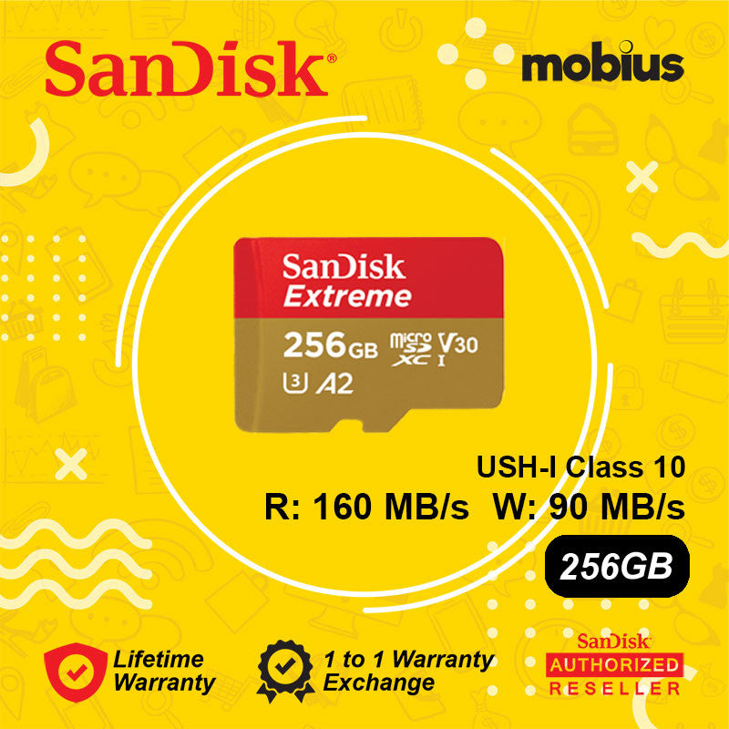 Sandisk 256GB Extreme Micro SD UHS-I Class 10 V30 U3 A2 Memory card