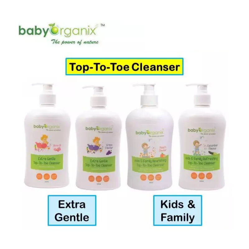 Baby Organix Classic Range Extra Gentle Top to Toe Cleanser - Grape & Rose Oil 400ML &Kids & Family Top to Toe Cleanser - Cucumber & Peach 400ML