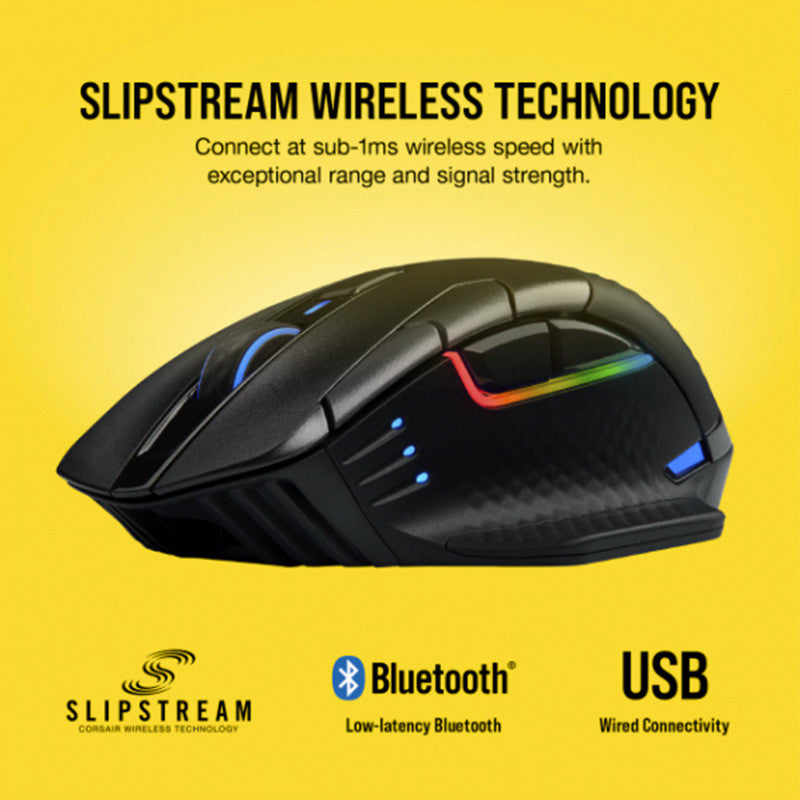 CORSAIR DARK CORE RGB PRO Performance Wired/Wireless Gaming Mouse with SLIPSTREAM Technology - BLK - RGB Black
