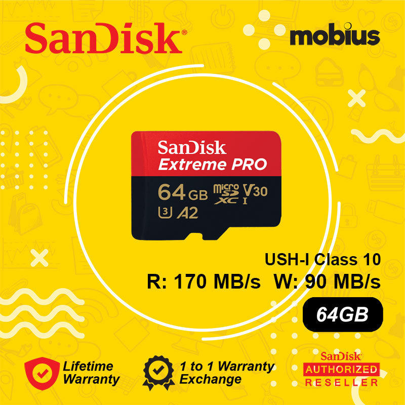 Sandisk 64GB Extreme PRO Micro SD UHS-I Class 10 U3 A2 V30 Memory card