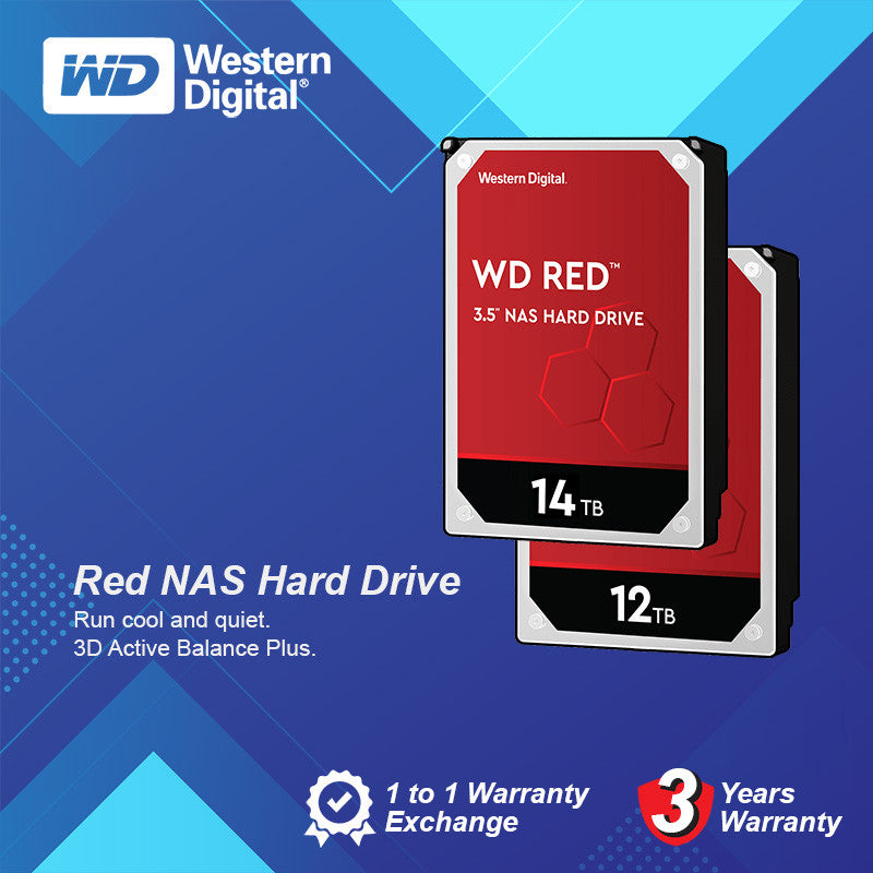 "WD 3.5"" 5400rpm 64mb Red NAS Internal Hard Drive Sata 6GBs - 12/14TB"