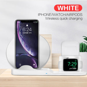 10W Qi Wireless Charger Station 3 in 1 For Iphone 11 X XS Airpods Stand phone Chargers For Apple Watch 5 Samsung Charging dock-electronic-betahavit-White-betahavit