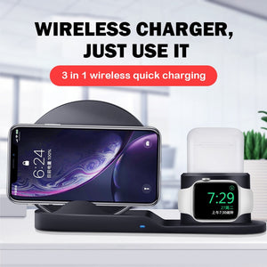 10W Qi Wireless Charger Station 3 in 1 For Iphone 11 X XS Airpods Stand phone Chargers For Apple Watch 5 Samsung Charging dock-electronic-betahavit-betahavit