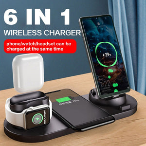 10W Qi Wireless Charger Station 6 in 1 For Iphone Airpods Micro USB Type C Stand phone Chargers For Apple Watch airpods Charging-electronic-betahavit-betahavit