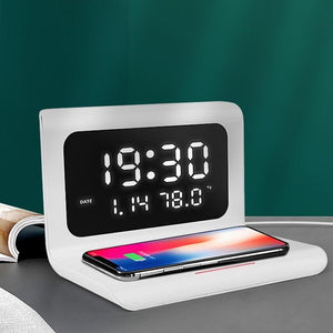 10W Qi Wireless Charger Wireless Charging Pad Thermometer Calendar Clock Fast Charge cargador inalambrico for iphone for samsung-electronic-betahavit-betahavit