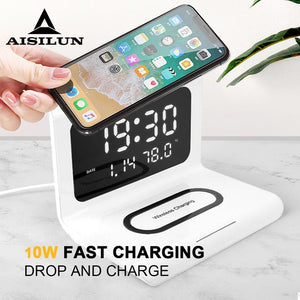 10W Qi Wireless Charger Wireless Charging Pad Thermometer Calendar Clock Fast Charge for iphone for samsung-electronic-betahavit-White-betahavit