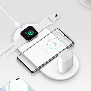 10W Wireless Chaging base for iWatch 2 5 4 3 AirPods 2 IPhone 11 Pro Max 8 X XR Samsung S10 S9+ FAST QI Wireless charger Station-electronic-betahavit-White-betahavit